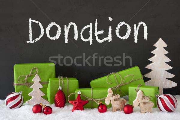 Karácsony dekoráció cement hó szöveg adomány Stock fotó © Nelosa