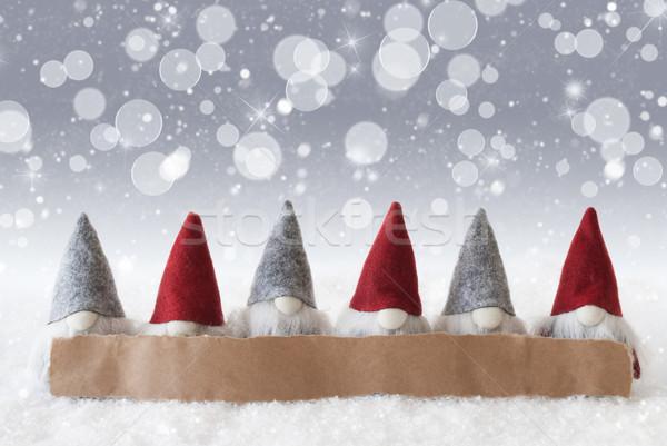 Gümüş bokeh Yıldız kar taneleri bo etiket Stok fotoğraf © Nelosa