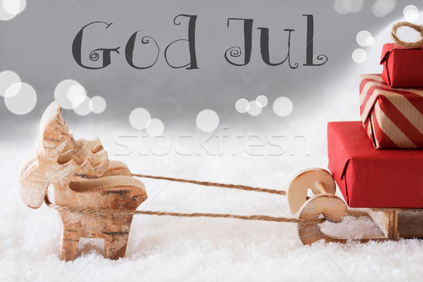 Reindeer With Sled, Silver Background, God Jul Means Merry Christmas Stock photo © Nelosa