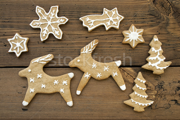Ginger Bread Reindeers, Stars, Snowflakes and Trees Stock photo © Nelosa