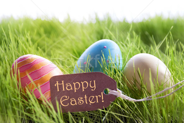 Happy Easter Background With Colorful Easter Eggs And Label Stock photo © Nelosa