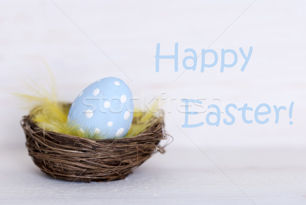 One Blue Easter Egg In Nest With Happy Easter Stock photo © Nelosa
