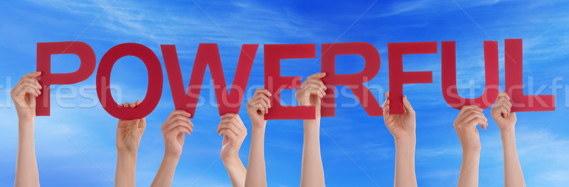 Many People Hands Holding Red Straight Word Powerful Blue Sky Stock photo © Nelosa