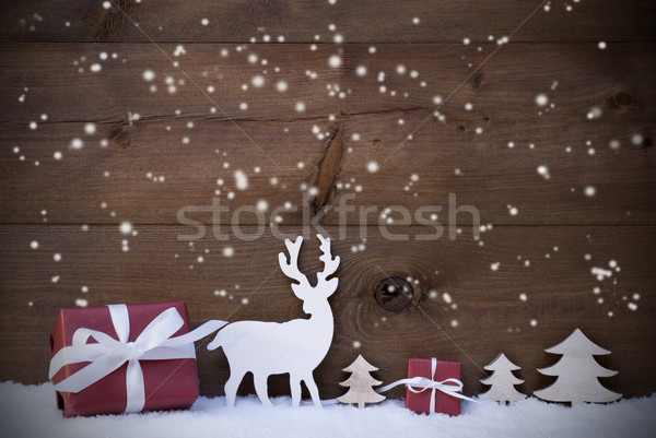 Wooden Christmas Background Snowflakes Gifts Trees Stock photo © Nelosa