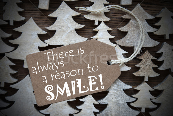 Brown Christmas Label With Always Reason To Smile Stock photo © Nelosa