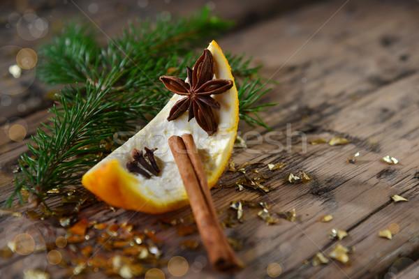 Decoração laranja anis ramo Foto stock © Nelosa