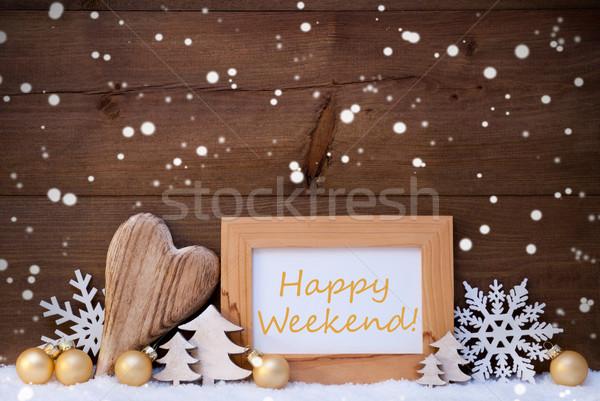 Gouden christmas decoratie sneeuw gelukkig weekend Stockfoto © Nelosa