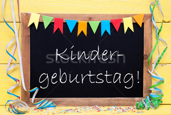 Chalkboard With Decoration, Text Kindergeburtstag Means Childrens Birthday Pary Stock photo © Nelosa
