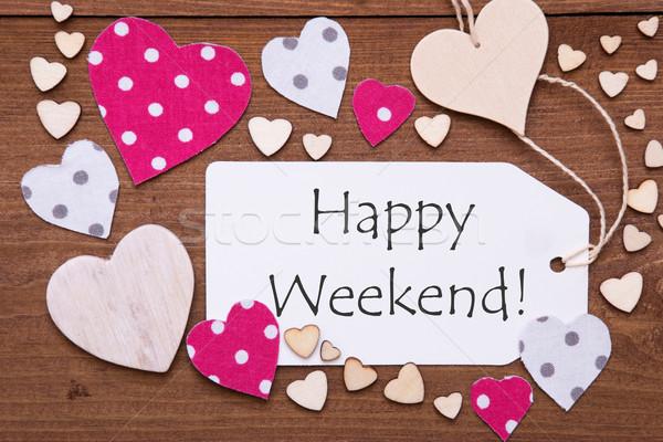 Label roze hart tekst gelukkig weekend Stockfoto © Nelosa