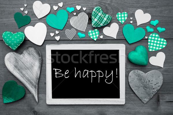 çok yeşil kalpler mutlu kara tahta İngilizce Stok fotoğraf © Nelosa