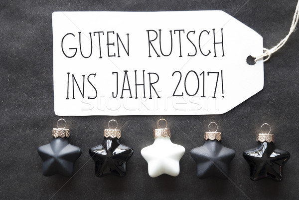 Black Christmas Tree Balls, Guten Rutsch 2017 Means New Year Stock photo © Nelosa