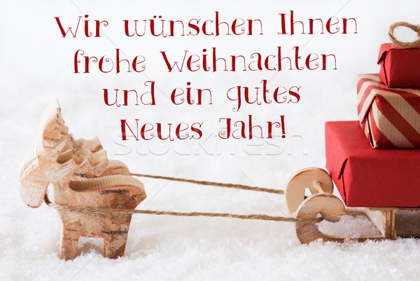 Reindeer With Sled, Frohes Neues Jahr Means Happy New Year Stock photo © Nelosa