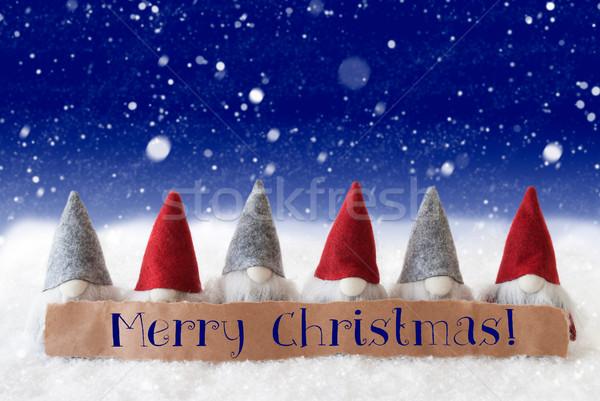Azul texto alegre Navidad etiqueta Foto stock © Nelosa