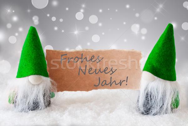Yeşil kar happy new year Noel tebrik kartı iki Stok fotoğraf © Nelosa