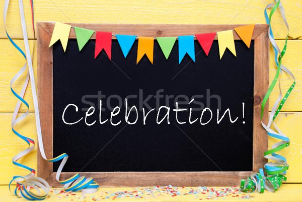 Stockfoto: Schoolbord · tekst · viering · Blackboard · Engels · partij