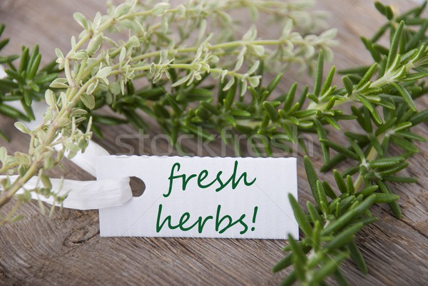 white label with fresh herbs Stock photo © Nelosa