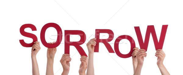 Kezek tart bánat sok piros szó Stock fotó © Nelosa