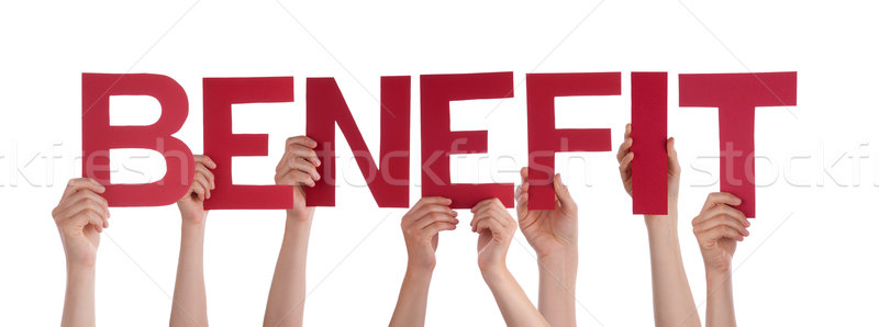 Many People Hands Holding Red Straight Word Benefit Stock photo © Nelosa
