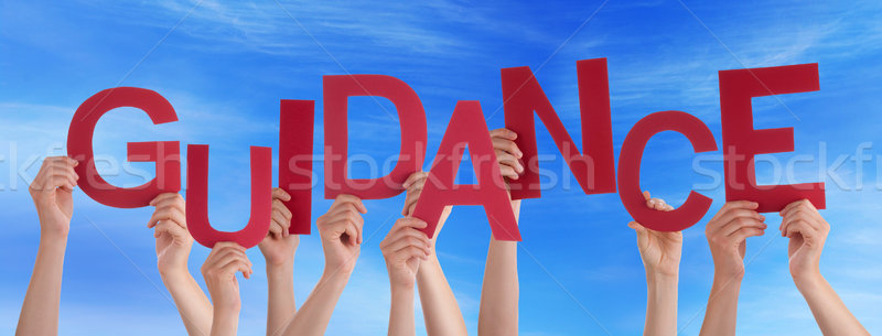 Many People Hands Holding Red Word Guidance Blue Sky Stock photo © Nelosa