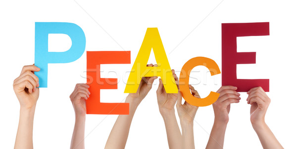 Many People Hands Holding Colorful Word Peace  Stock photo © Nelosa