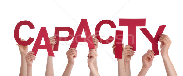 Many People Hands Holding Red Word Capacity Stock photo © Nelosa