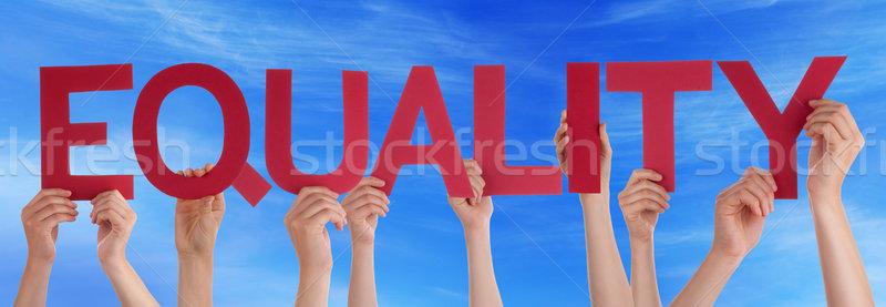 Kezek tart piros egyenes szó egyenlőség Stock fotó © Nelosa