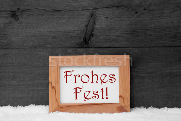 Gray Frame, Frohes Fest Means Merry Christmas, Snow Stock photo © Nelosa