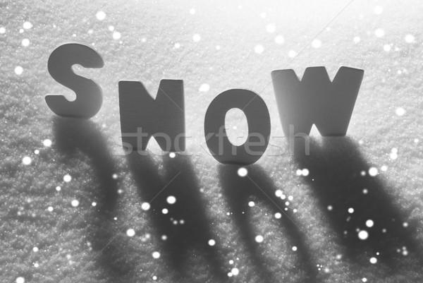 White Word Snow With Snowflakes Stock photo © Nelosa