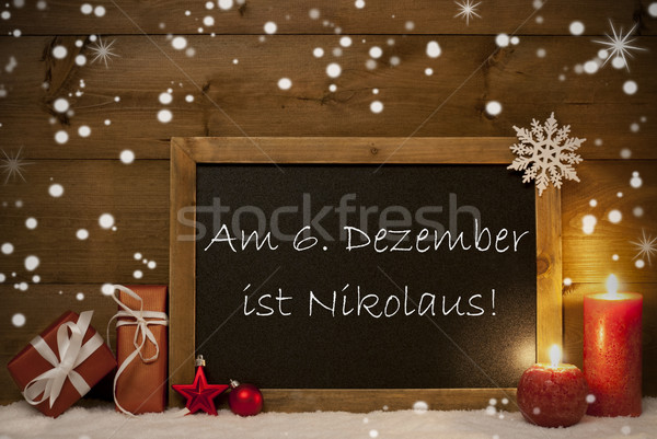Card, Blackboard, Snowflakes, Nikolaustag Mean Nicholas Day Stock photo © Nelosa