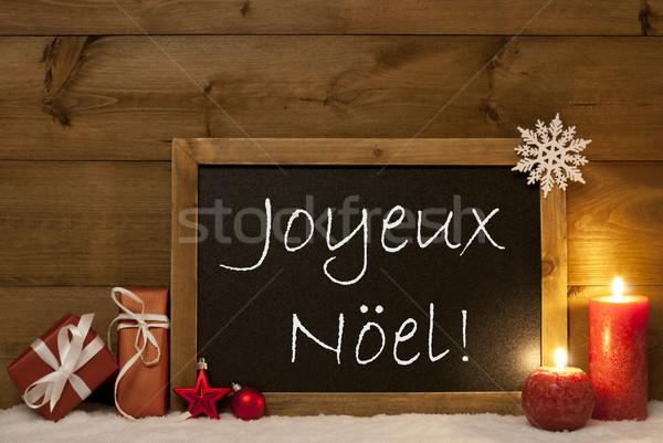 Stock photo: Festive Card, Blackboard, Snow, Joyeux Noel Mean Merry Christmas