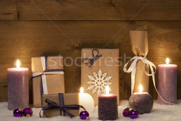 Purple Christmas Gifts With Candles And Balls, Snow Stock photo © Nelosa
