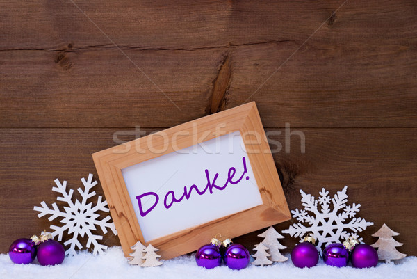 Purple Christmas Decoration, Snow, Danke Mean Thank You Stock photo © Nelosa