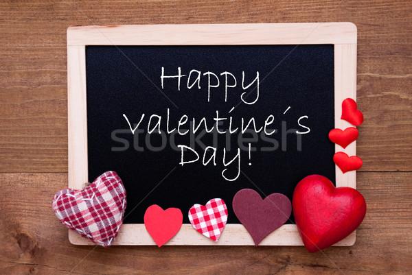 Tableau noir textiles coeurs texte heureux saint valentin Photo stock © Nelosa