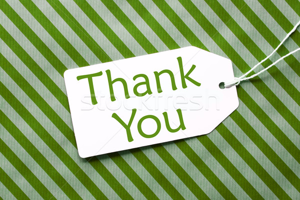 Label On Green Wrapping Paper, Text Thank You Stock photo © Nelosa