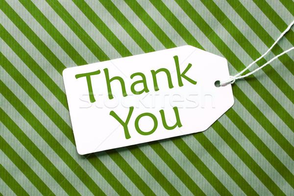 Etiqueta verde papel de embrulho texto obrigado um Foto stock © Nelosa
