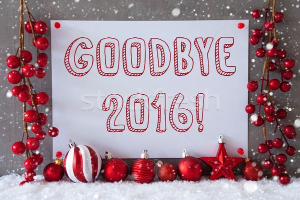 Címke hópelyhek karácsony golyók szöveg viszlát Stock fotó © Nelosa