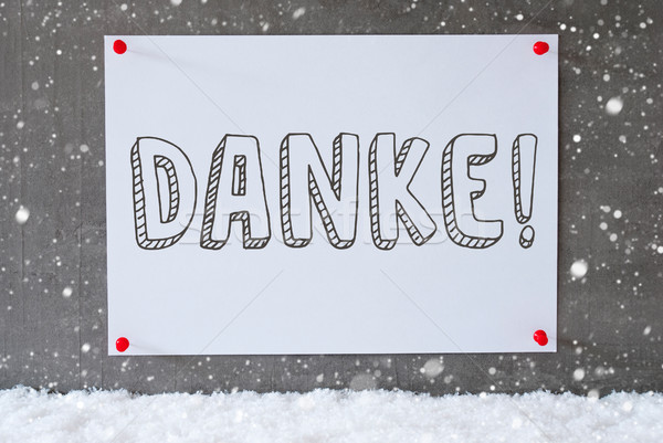 Label On Cement Wall, Snowflakes, Danke Means Thank You Stock photo © Nelosa