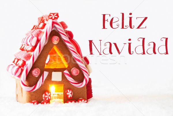 Gingerbread House, White Background, Feliz Navidad Means Merry Christmas Stock photo © Nelosa
