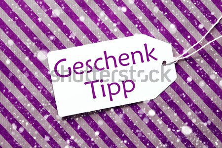 Label On Purple Wrapping Paper And Copy Space, Snowflakes Stock photo © Nelosa
