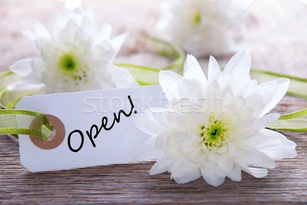 Label открытых белый тег слово белые цветы Сток-фото © Nelosa