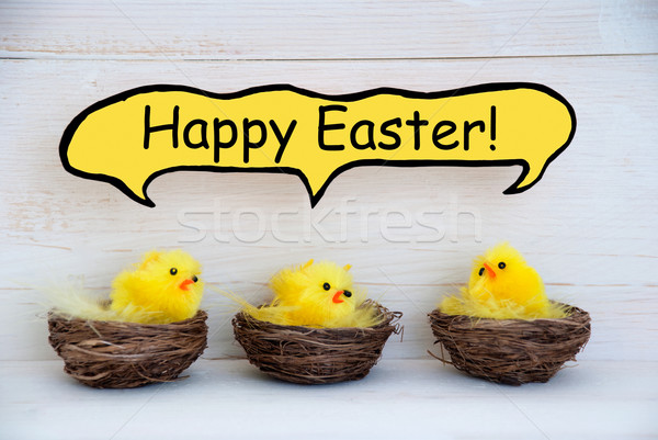 Three Chicks With Comic Speech Balloon Happy Easter Stock photo © Nelosa