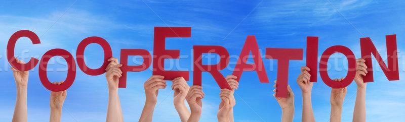 Molti persone mani rosso parola Foto d'archivio © Nelosa