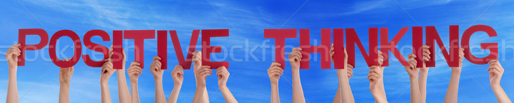 Hands Hold Red Straight Word Positive Thinking Sky Stock photo © Nelosa