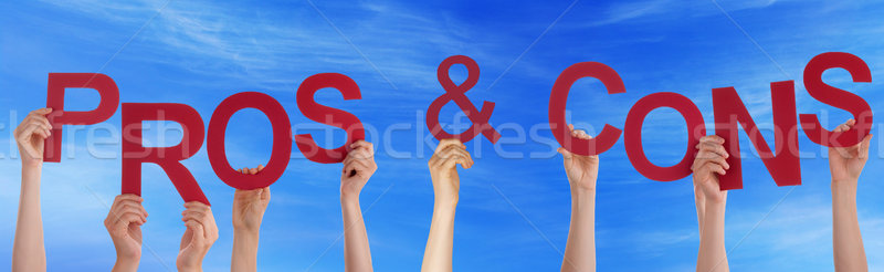Hands Holding Red Word Pros And Cons Blue Sky Stock photo © Nelosa