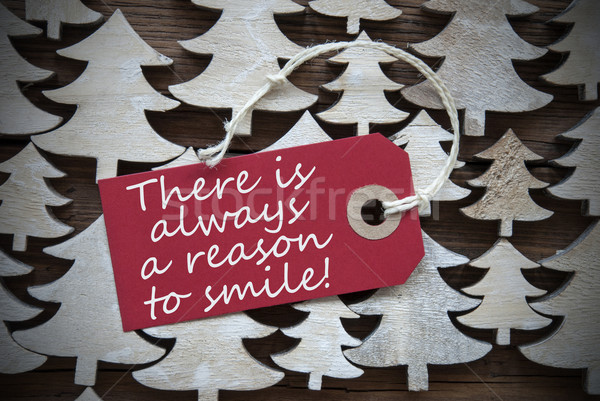 Red Christmas Label With Always Reason To Smile Stock photo © Nelosa