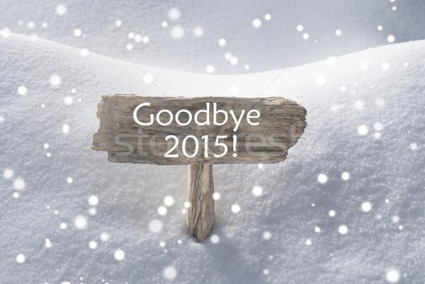Karácsony felirat hó hópelyhek viszlát 2015 Stock fotó © Nelosa