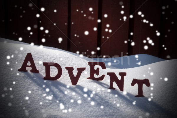 Advent Mean Christmas Time On Snow With Snowflakes Stock photo © Nelosa