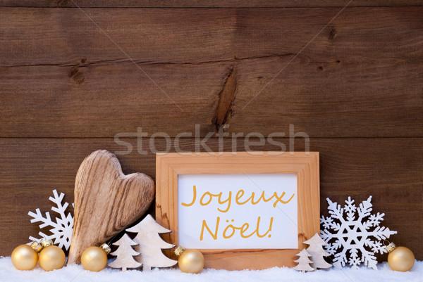 Golden Decoration, Snow, Joyeux Noel Mean Merry Christmas Stock photo © Nelosa