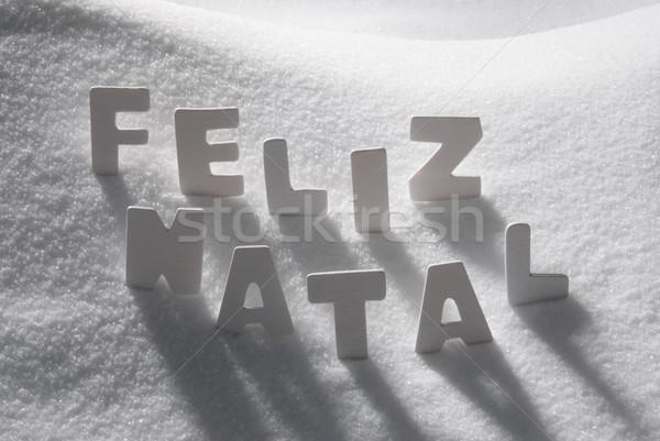 White Word Feliz Natal Mean Merry Christmas On Snow Stock photo © Nelosa