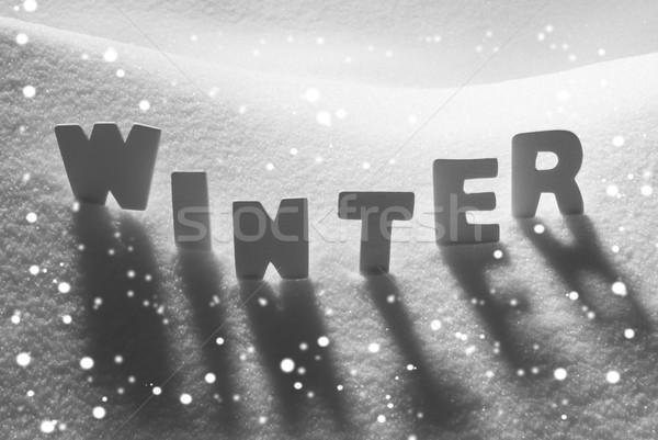 White Word Winter On Snow, Snowflakes Stock photo © Nelosa